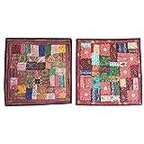 Mogul 2 Colorful Pillow Sham Zari Embroidery Patchwork Throw Cushion Covers Bohemian Interior