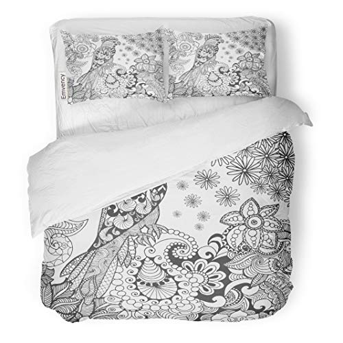 Semtomn Decor Duvet Cover Set Twin Size Cute Parrot in Fantasy Flowers Animals Doodle Ethnic Patterned 3 Piece Brushed Microfiber Fabric Print Bedding Set -