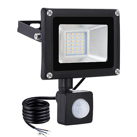 viugreum Foco exterior con detector de movimiento, 20 W Foco proyector Led, Iluminación IP65