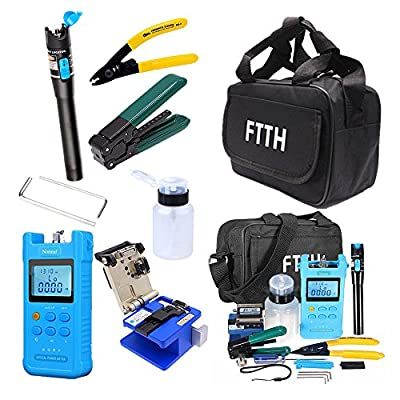 18 in 1 FTTH Fiber Optic Tool Kit with FC-6S Fiber Cleaver Optical Power Meter SC Adapter Visual Fault Locator