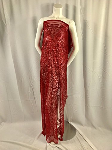 RED GEOMETRIC DIAMOND DESIGN EMBROIDER WITH SEQUIN ON A 2 WAY STRETCH MESH by NEW CREATIONS FABRIC AND FOAM INC
