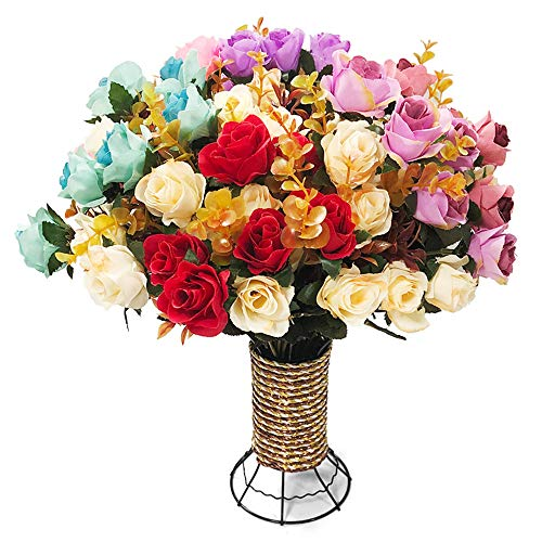 Yomais Artificial Flowers,Artificial Rose Bouquets with Metal Vase Fake Silk Rose Flowers Decoration for Table Home Office Wedding