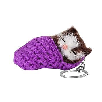 ALOVEMO Llavero de Gatito Durmiente Colgante de Gato, para ...