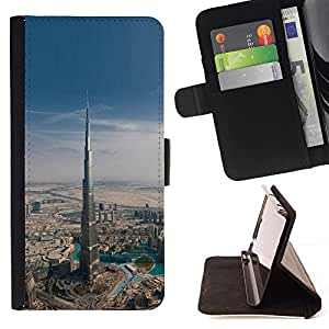 Arquitectura Dubai Skyscraper- Modelo colorido cuero de la carpeta del tirón del caso cubierta piel Holster Funda protecció Para Apple iPhone 5 / iPhone 5S