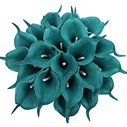 Duovlo 20pcs Calla Lily Bridal Wedding Bouquet Lataex Real Touch Artificial Flower Home Party Decor (Peacock Blue)