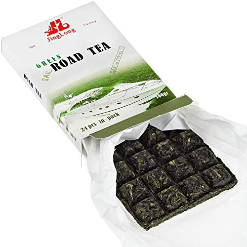 Road Green Puerh Tea - Special edition for travelers - Aged Puerh Tea Brick divided in 24 squares (48 cups) - Raw Puerh Tea - Aged Yunnan Tea travel design - Shen Puer Green Tea - 3.6 ounce/100g