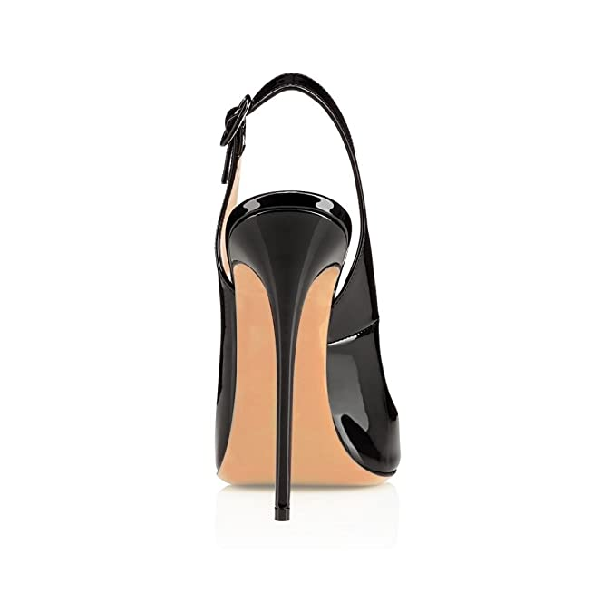 eab2ded0025 EDEFS Womens Peep Toe 120mm High Heels Sandal Open Toe Slingback Sandals  Party Dress Shoes