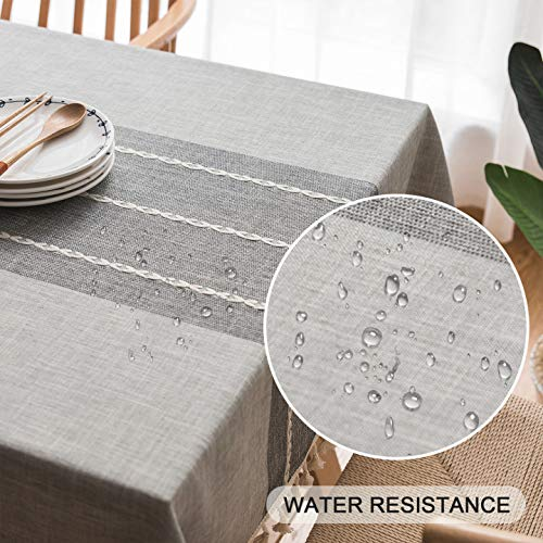 Tablecloth Rectangle,Fringed Lace, Thick, Cotton Linen, Wrinkle Free, Tassel Tablecloths Washable, Dining Table Cover for Kitchen Party,Modern,Classic,Vintage Style (Grey, 140x200cm(55x78.7inch))