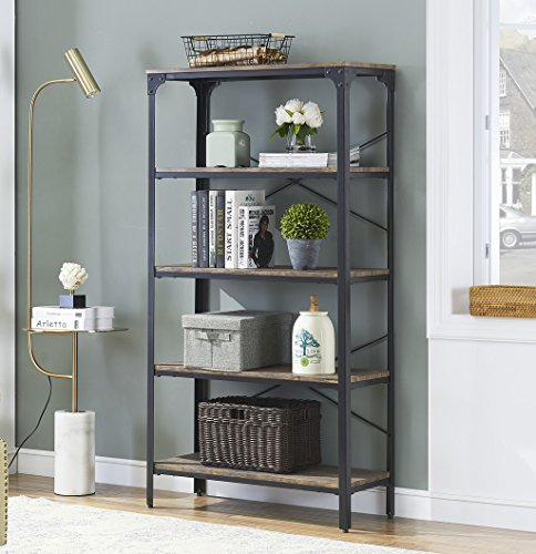 - O&K FURNITURE 5-Tier Industrial Bookshelf with Metal Frame, Free Standing Bookcase, Rustic Open Etagere for Display & Storage, Gray-Brown
