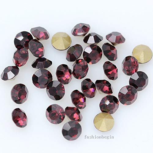 Pukido 144p ss1 1mm Round Assorted Pointed Foiled Back Czech Crystal Faceted Glass Rhinestones Brooch Watch Jewelry Repair Loose Beads - (Color: Amethyst) from Pukido