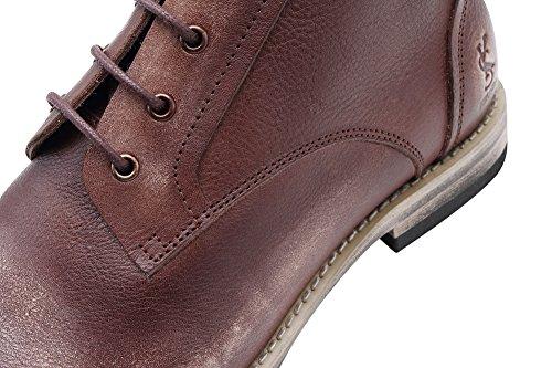 Genda 2archer Hombres Zapatos De Cuero Reales Desert Storm Chukka Botas Café