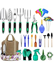 Garden Tools Set 82pcs, Extra Succulent Tools Set, Heavy Duty Gardening Tools Kit with Soft Rubberized Non-Slip Handle incl Pruner Trowel Weeder Rakes & Storage Tote Bag, Gift for Women & Men