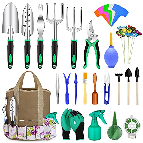 82 Pcs Garden Tools Set, Extra Succulent Tools Set, Heavy Duty Gardening Tools Aluminum with Soft Rubberized Non-Slip…