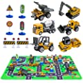 Construction Vehicles Toys With Play Mat 6 Construction Cars 6 Road Signs And 15 5 X 23 5 Playmat Mini Diecast Cars Play Sets Toy Trucks Perfect Toy Cars Party Supplies