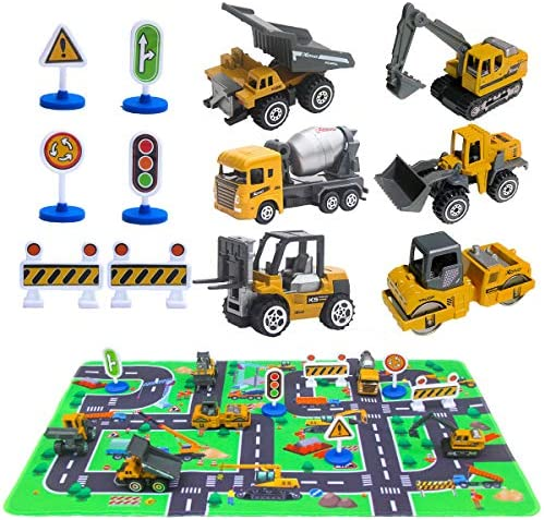 Construction Vehicles Toys with Play Mat, 6 Construction Cars, 6 Road Signs and 15.5″ x 23.5″ Playmat, Mini Diecast Cars Play Sets, Toy Trucks, Perfect Toy Cars Party Supplies