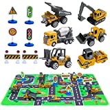 "Toys : Construction Vehicles Toys with Play Mat, 6 Construction Cars, 6 Road Signs and 15.5"" x 23.5"" Playmat, Mini Diecast Cars Play Sets, Toy Trucks, Perfect Toy Cars Party Supplies"