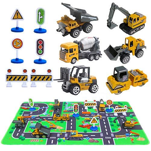 (Construction Vehicles Toys with Play Mat, 6 Construction Cars, 6 Road Signs and 15.5
