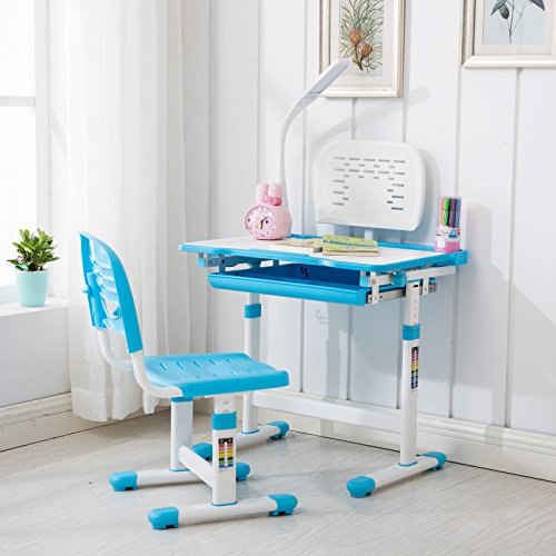 51ktAbSYrfL - VIVO Height Adjustable Children's Desk and Chair Set, Grey