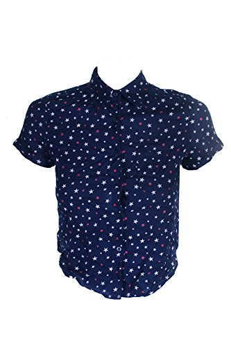 Denim Supply Navy Cropped Star-Print Shirt ()