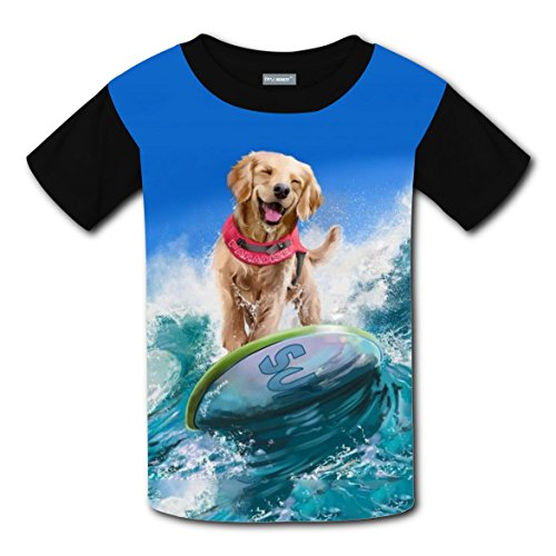 Girl Costume Ideas Surfer (Surfing Dog Happy Surfer T-shirts Tee Shirt for Kids Tops Costume Round Black)