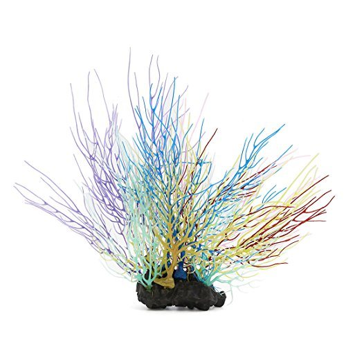 uxcell Aqua Fish Tank Colorful Coral Decor Ornament With Resin Base 19x6x24cm