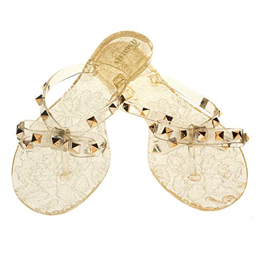 Tengyufly Womens Rivets Bowtie Flip Flops Jelly Thong Sandal Rubber Flat Summer Beach Rain Shoes (US9=EU41=25.5CM, Clear-Gold) ()