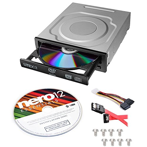 Lite-On 24X SATA Internal DVD+/-RW Drive Optical Drive IHAS124-14 + Nero 12 Essentials Burning Software + Sata Cable - Lock Kit Enclosure