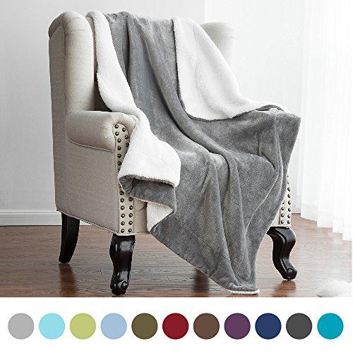 Bedsure Sherpa Throw Blanket Grey Throw Size 50x60 Bedding