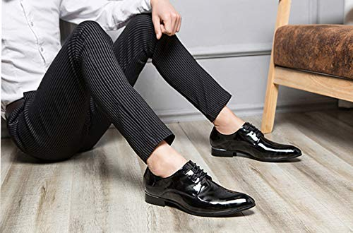 9aa8001f999 Dress Shoes Men Pointed Toe Floral Patent Leather Lace Up Oxford ...