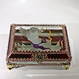 Cupid, Love, Valentine's Day, Stained Glass Jewelry Box, Presentation Box, Keepsake Box, Glass Jewels, Swarovski Crystals, USA Made
