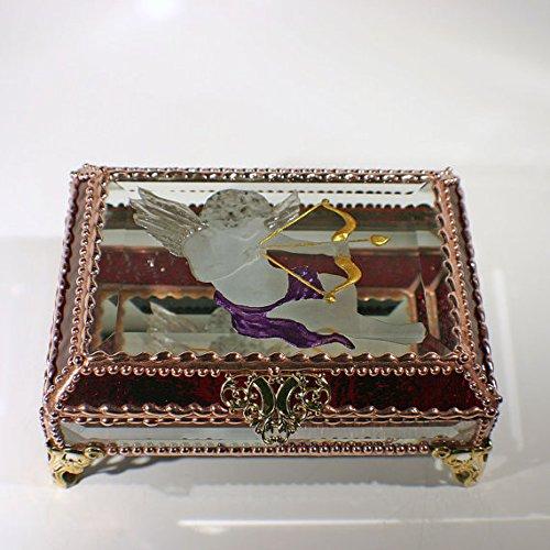 Cupid, Love, Valentine's Day, Stained Glass Jewelry Box, Presentation Box, Keepsake Box, Glass Jewels, Swarovski Crystals, USA Made by Glass Treasure Box