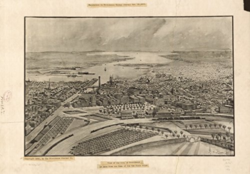 Map: 1896 View of the city of Providence as seen from the dome of the new State House. Supplement to Providence Sunday journal, Nov. 15, 1896|Providence|Providence RI|Rhode Island|