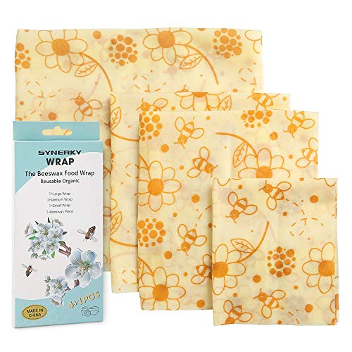 (Reusable Beeswax Food Storage Wraps - SYNERKY 4 Pack Eco-friendly Wax Sandwich Snacks Wrap and Bowl Cover Sustainable FDA Certified Plastic-Free Cloth Bee Wrappers Wrapping Paper for Kitchen Storage)