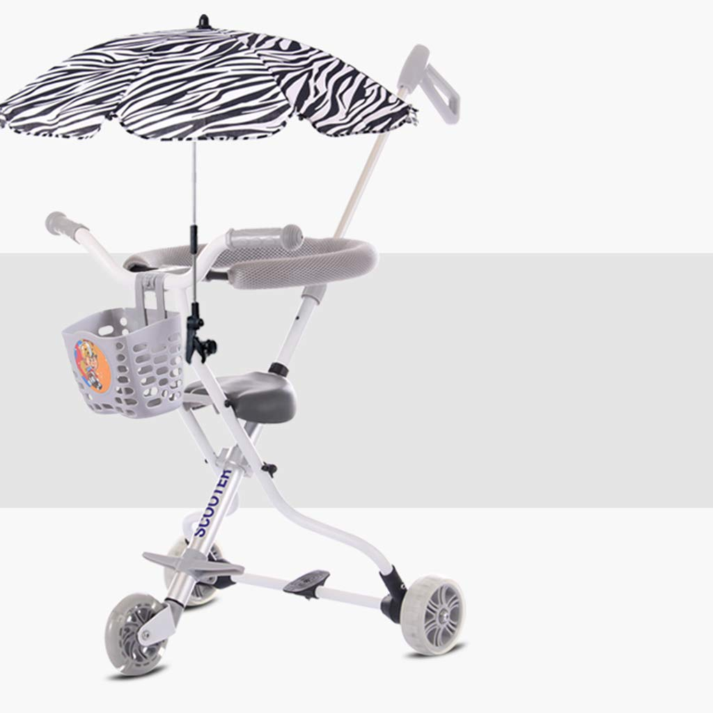 Baby Four-Wheeled Shatter-Resistant Lightweight Folding Children's Trolley Trend Adventure Travel System Range Aviation Aluminum Silver 6.3. (Color : Silver, Size : B) by Bbjinpin (Image #1)