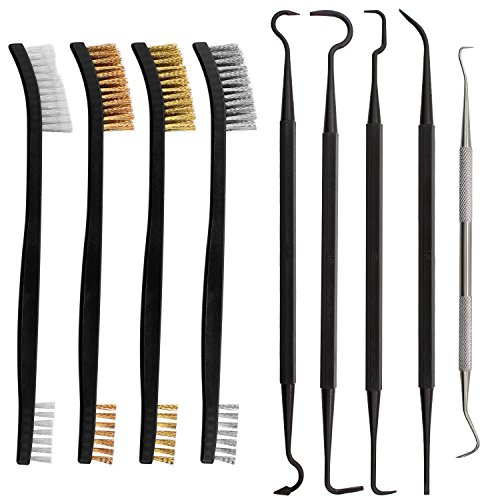 Braudel Gun Cleaning Kit, Double Ended Polymer Metal Picks and Nylon Brass Stainless Steel Brush Set, 9pcs