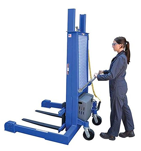 Pallet Stacker - BLL-PMPS Series; Operation: Air/Oil; Capacity (LBS): 4,000; Fork Size (W x L): 4'' x 36''; Service Range: 3'' to 50''; Casters: 8'' x 3'' Swivel Phenolic