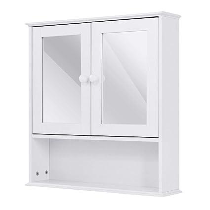 Amazon Tangkula Bathroom Cabinet Double Mirror Door Wall Mount