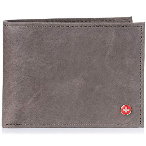 - Alpine Swiss RFID Safe Mens Leather Bifold Passcase Wallet 2-in-1 Card Case GRY