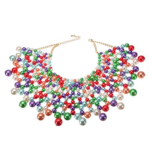 Multi Color Resin Beads - Jerollin Fashion Jewelry Necklace CCB Resin Beads Chain Charm Choker Chunky Statement Bib Necklace (Multi-Color 2)