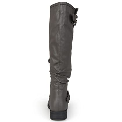 86cdf60945c9 ... Brinley Co. Womens Regular and Wide-Calf Knee-High Buckle Riding Boot  Grey ...