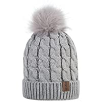 REDESS Kids Winter Warm Fleece Lined Hat, Baby Toddler Children's Beanie Pom Pom Knit Cap for Girls and Boys(2-7Ages)