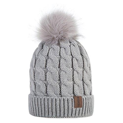 REDESS Kids Winter Warm Fleece Lined Hat, Baby Toddler Children's Beanie Pom Pom Knit Cap for Girls and Boys (Light Gray)