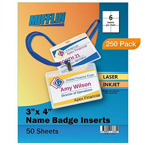 (Mifflin Name Badge Inserts, 3