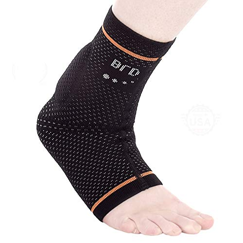 BRD Sport Achilles Compression Ankle Brace - FDA Registered Brace Offers Breathable, Comfortable Recovery from Pain, Swelling, Tendonitis (Black with Orange Accent Stripe, L [9