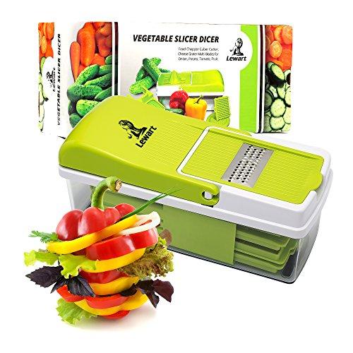LEWART Mandoline Slicer - Onion Chopper, Vegetable Slicer, Fruit, Cheese Cutter & Grater for Slicing - Mandoline Safety Food Cutter Slicer - Food Container, Food Holder
