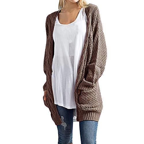 NREALY Sweaters Women's Long Sleeve Knitwear Open Front Cardigan Sweaters Casual Outerwear(L, Coffee)]()
