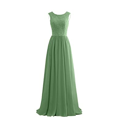 DingXuBao Womens Lace Chiffon Beaded Bridesmaid Prom Evening Dresses(UK2, Army Green)
