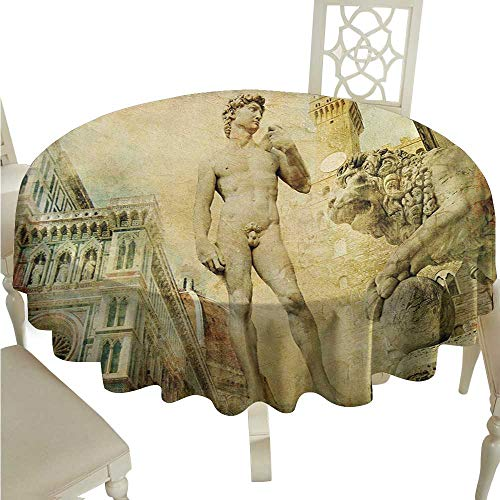 longbuyer Round Tablecloth Italy,Ancient Florence Art Collage Michelangelo David Renaissance,Pale Yellow Pale Orange Mint Green D50,for Bistro Table