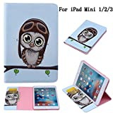 iPad Mini Case, iPad Mini 2/3 Case, Newshine [Coloured Paintings Design] Cute Synthetic Leather [Stand Feature] Flip Wallet Case Cover for 7.9'' Apple iPad Mini 3 2 1 and Retina Tablet (Brown Owl)