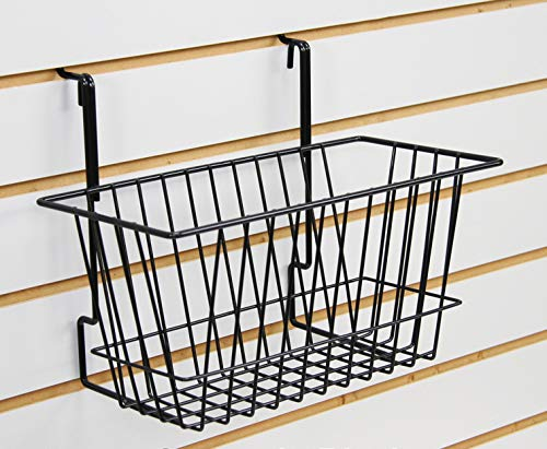 Only Hangers Small Wire Storage Baskets for Gridwall, Slatwall and Pegboard - Black Finish - Dimensions: 12'' x 6'' x 6'' Deep - Economically Sold in a Set of 6 Baskets by Only Hangers (Image #2)